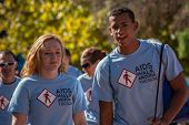 Two Young People At Aidswalk
