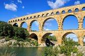 image of gaul  - Roman aqueduct at Pont du Gard France UNESCO World Heritage Site - JPG