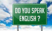 Do You Speak English on Highway Signpost.