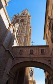 Street and Cathedral of Toledo Spain - architecture background