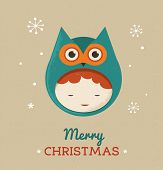 Christmas cute design greeting card background with girl owl