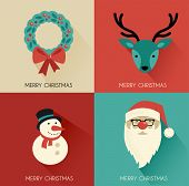 Christmas background with Hipster Santa and speech bubble