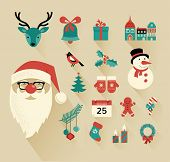 stock photo of christmas claus  - Christmas flat icons design set - JPG