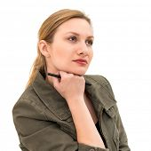 thinking or planning young woman with pen, isolated on white background