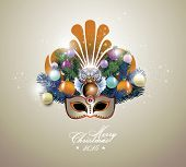 Beautiful festive carnival mask with christmas fir tree