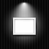 White photo frame on black striped wall. Vector background with blank banner