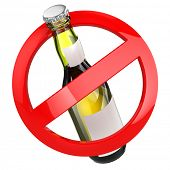 No alcohol sign.  Bottle of beer on white isolated background. 3d