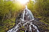 Trusetal waterfall in the evening sun, Thuringia, Germany