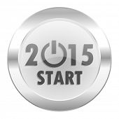 new year 2015 chrome web icon isolated
