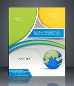 Vector Layout Business Flyer With World Map, Magazine Cover, Template Or Corporate Banner Design In
