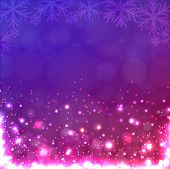 Lights On Purple Background With Snowflakes.