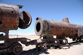 Rusty old steam locomotives at Train Cemetery, Bolivia