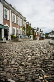 pic of edwardian  - Row of Edwardian houses on a cobbled street in Exeter Devon - JPG
