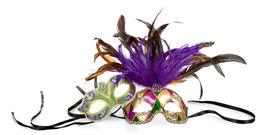 foto of mardi gras mask  - Purple green and gold mardi gras masks on a white background - JPG