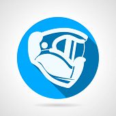 picture of paintball  - Round blue flat vector icon with white silhouette paintball protection helmet a side view on gray  background - JPG