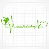 picture of heartbeat  - Creative World Health Day Greeting with heartbeat stock vector - JPG