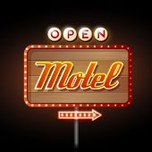 stock photo of motel  - Decorative Neon Sign Motel on wooden background - JPG