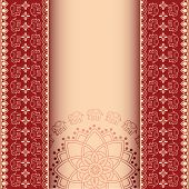 image of indian elephant  - Traditional red and cream Indian henna elephant mandala design invitation with space for text - JPG