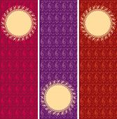 image of funky  - Set of funky colorful henna paisley pattern vertical banners with round space for text - JPG