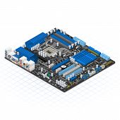pic of isometric  - This image is a motherboard in isometric projection - JPG
