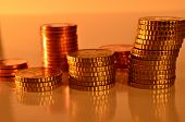 stock photo of copper coins  - close up of neatly stacked copper coins - JPG