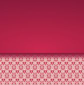 stock photo of damask  - Vintage classical red and cream damask pattern card design with horizontal banner for text - JPG
