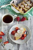 picture of french toast  - Baked French Toast With Fresh Strawberry and cup of coffee - JPG