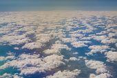 stock photo of aeroplane  - Beautiful cloud sky view from aeroplane window - JPG