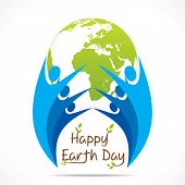 pic of save earth  - every people celebrate earth day design vector - JPG