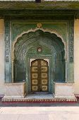 picture of marquetry  - Green Gate in Pitam Niwas Chowk Jaipur City Palace Rajasthan India - JPG