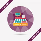 stock photo of cash register  - Shopping Cash Register Flat Icon With Long Shadow - JPG