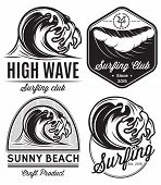 stock photo of lifeguard  - set of vector patterns for design on the theme of water surfing ocean sea - JPG