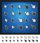 pic of fingernail  - Illustration of a set of funny simple cartoon design computer icons cursor hands with index and arrows signs for funny ui game environment on blue screen background and isolated on white - JPG