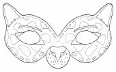picture of panther  - Mask of Black Panther with spots on the white background in the Happy holiday collection - JPG
