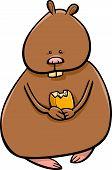 pic of hamster  - Cartoon Illustration of Funny Hamster with Corn Grain - JPG