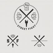 foto of brass knuckles  - Vector street fight emblem with fist and chain - JPG