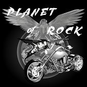 pic of chopper  - vector illustration planet of rock universe and chopper - JPG