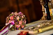 foto of christening  - Wedding table in church durring the christening a child - JPG