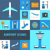 picture of transportation icons  - Airport lounge public transportation business decorative icons set isolated vector illustration - JPG