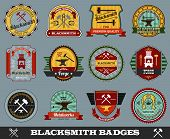 picture of ironworker  - Blacksmith foundry metalwork industry colored badges set isolated vector illustration - JPG