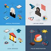 foto of proceed  - Law isometric set with judical proceeding legal services police investigation icons isolated vector illustration - JPG