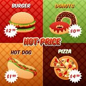 Постер, плакат: Fast Food Poster Set