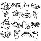 stock photo of hamburger  - Fast food menu icons set with hamburger chips hotdog black outline symbols emblems sketch isolated vector illustration - JPG