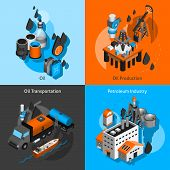 picture of petroleum  - Petroleum industry design concept set with oil production transportation isometric icons isolated vector illustration - JPG