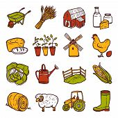 pic of wheelbarrow  - Hand drawn decorative agriculture icons set with windmill tractor wheelbarrow isolated vector illustration - JPG