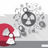 stock photo of radioactive  - Paper and hand drawn radioactivity emblem with icons background - JPG