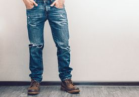 stock photo of denim jeans  - Young fashion man - JPG