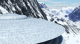 stock photo of ovni  - ovni among the snowy mountains of the earth 3d rendering - JPG