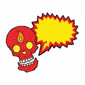 image of mystical  - cartoon mystic skull with speech bubble - JPG