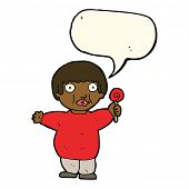 stock photo of child obesity  - cartoon fat child with speech bubble - JPG